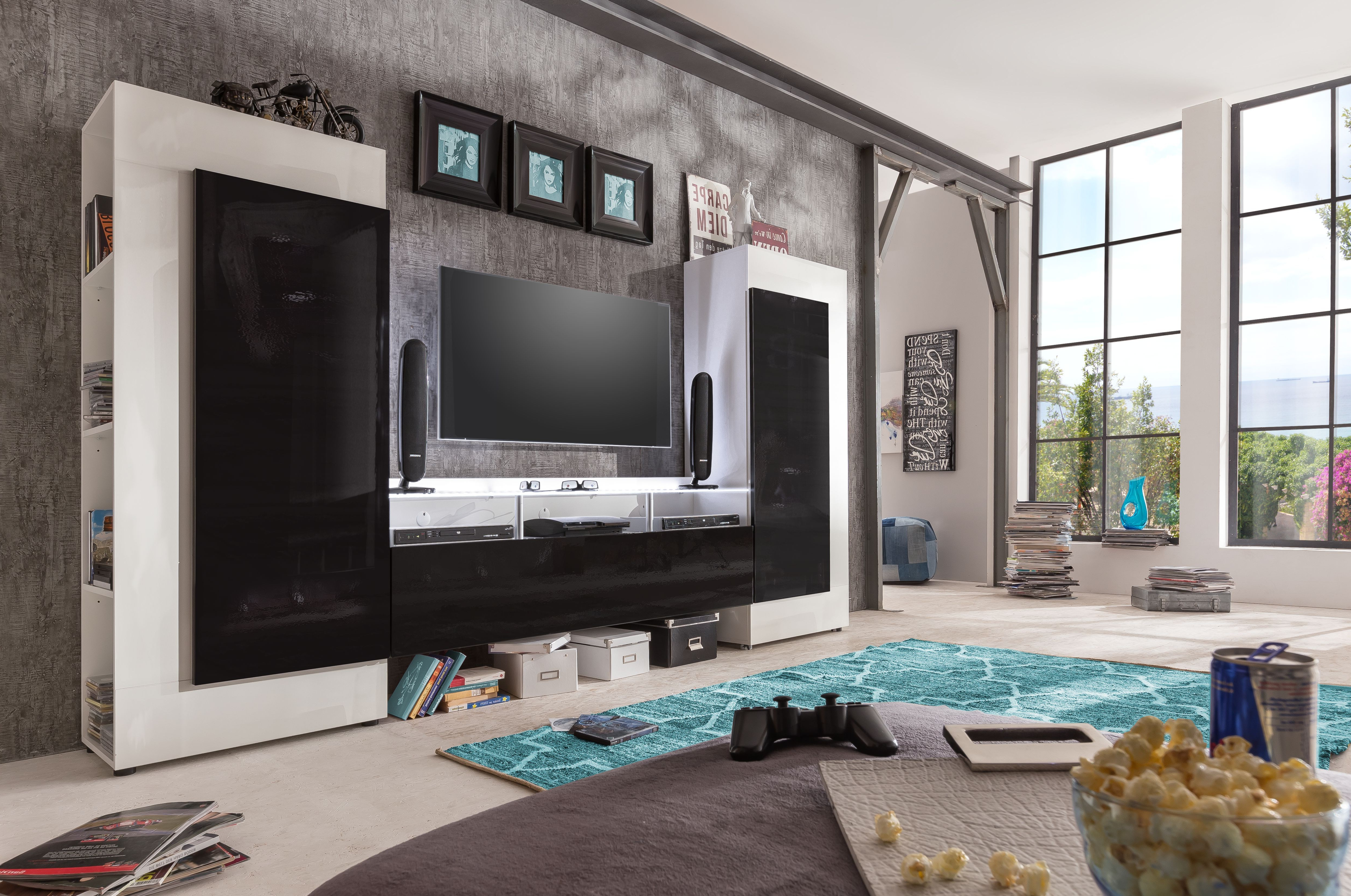 Black Gloss Tv Wall Unit For Fashionable Old Tv Wall Units Hints And Tv Wall Units Rich As Wells As Hints And (View 2 of 20)