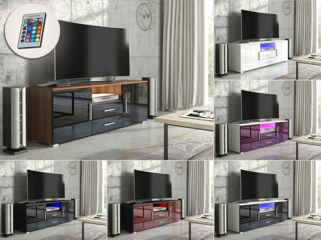 Black Gloss Tv Wall Unit For Well Known High Gloss Tv Cabinets, Unit – Mex Furniture (View 3 of 20)