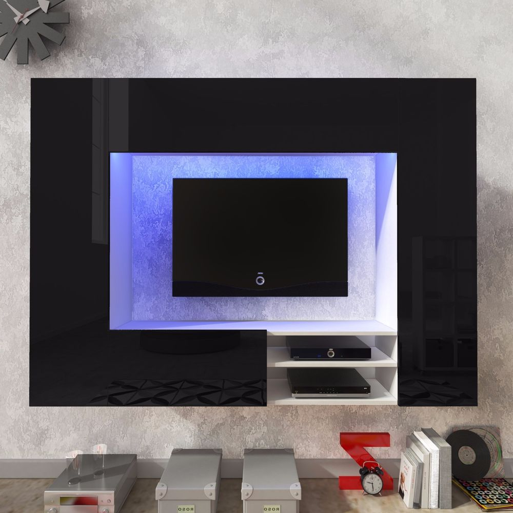 Black Gloss Tv Wall Units In Popular Tv Wall Unit 'net' White Or Black High Gloss , Free Delivery+ Led (View 3 of 20)