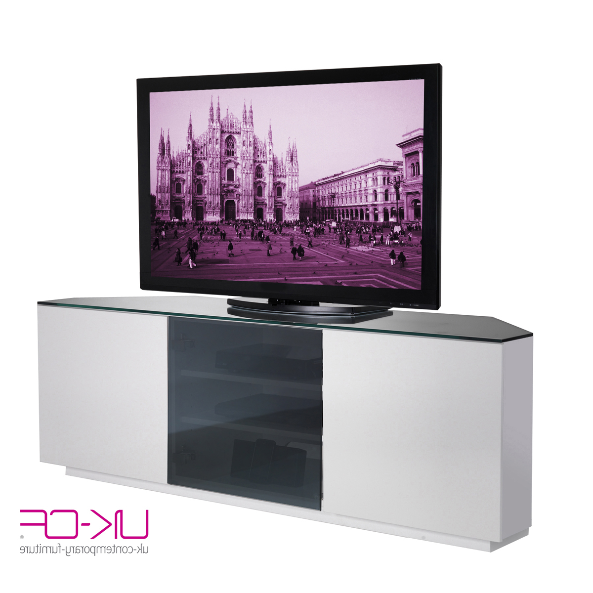 Black High Gloss Corner Tv Unit For Most Recently Released Ukcf Milan White Gloss & Black Glass Corner Tv Stand 150Cm (View 16 of 20)