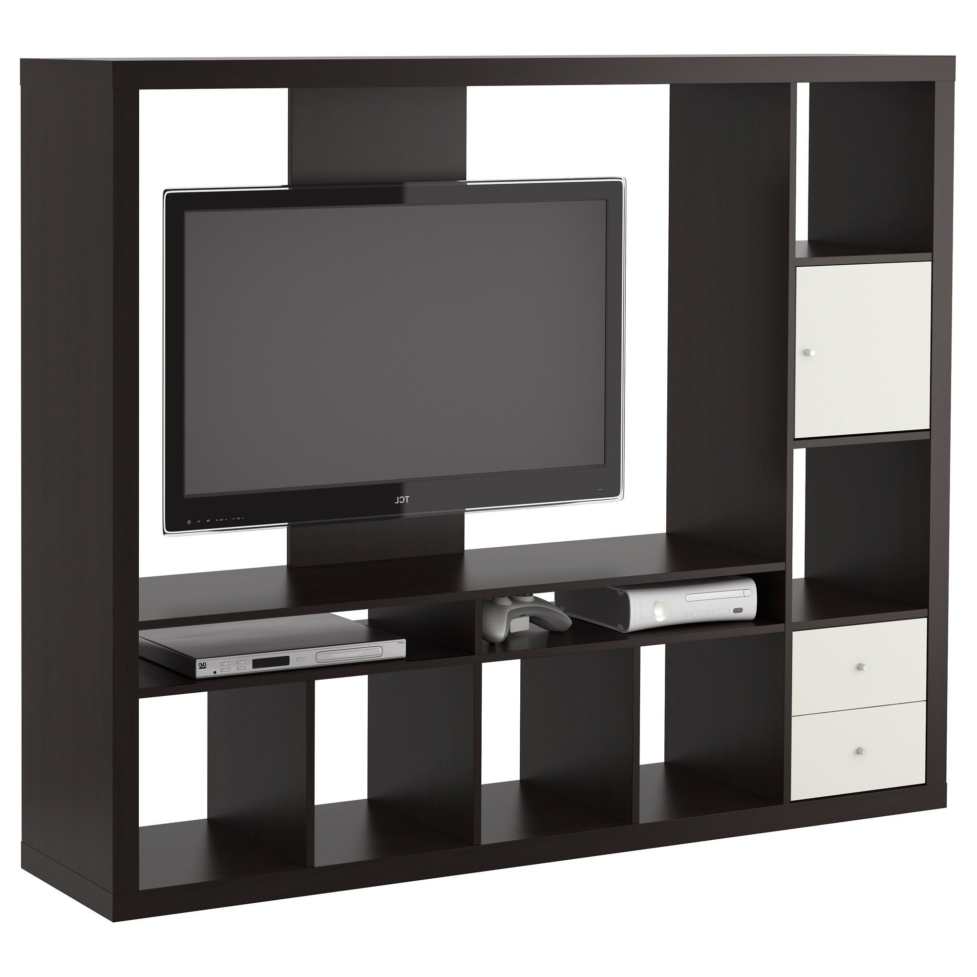 Black Polished Solid Wood Tv Cabinet With Several Open Shelves And Regarding Widely Used Black Tv Cabinets With Drawers (View 6 of 20)