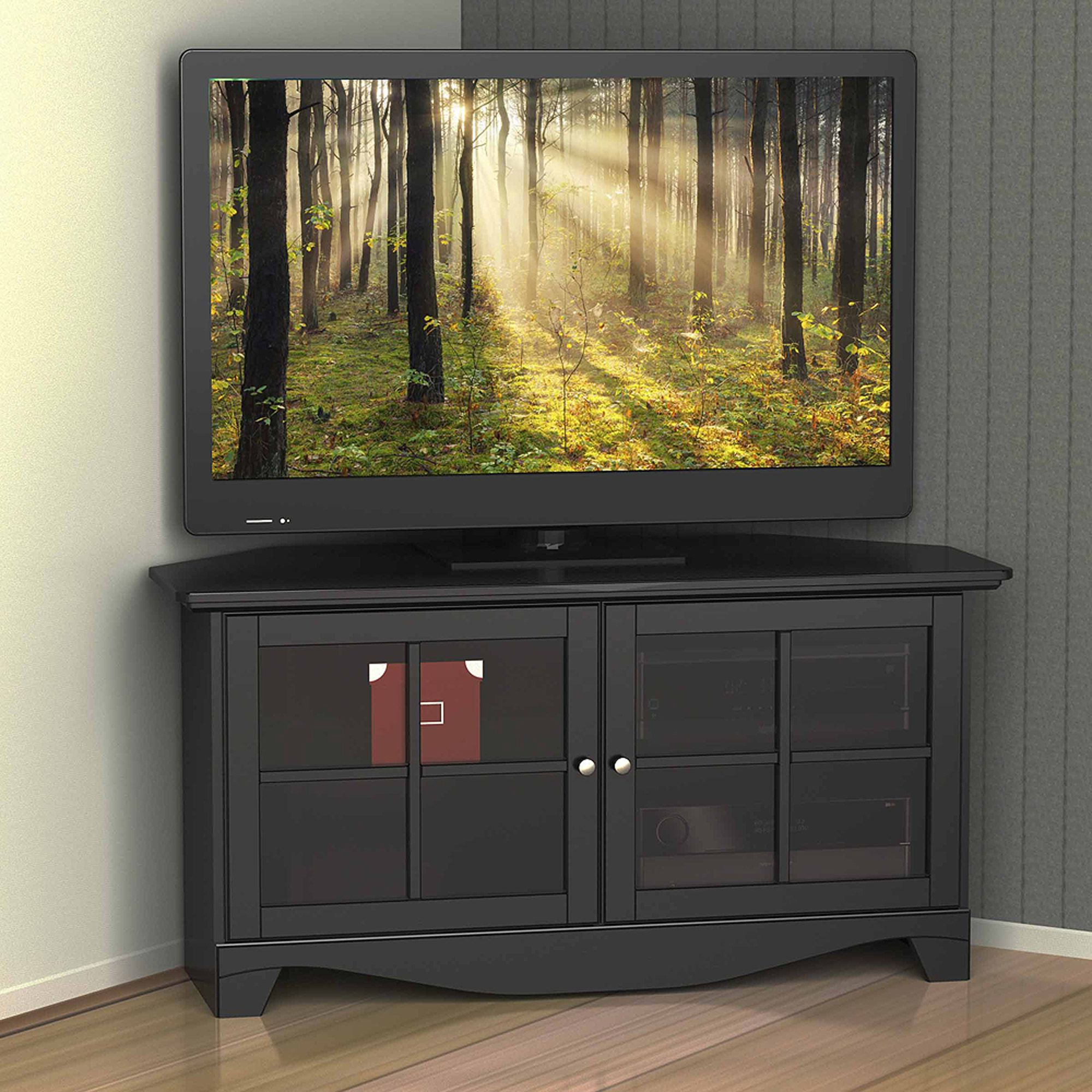 Black Tv Cabinets With Doors Pertaining To Most Current Nexera Pinnacle Black 2 Door Corner Tv Stand For Tvs Up To  (View 6 of 20)