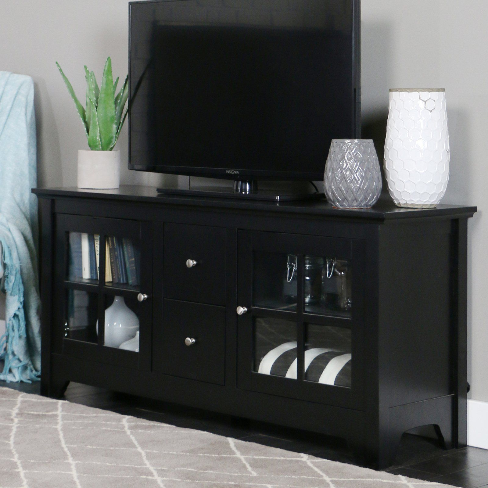 Black Tv Cabinets With Drawers For Preferred Walker Edison 53 In (View 15 of 20)
