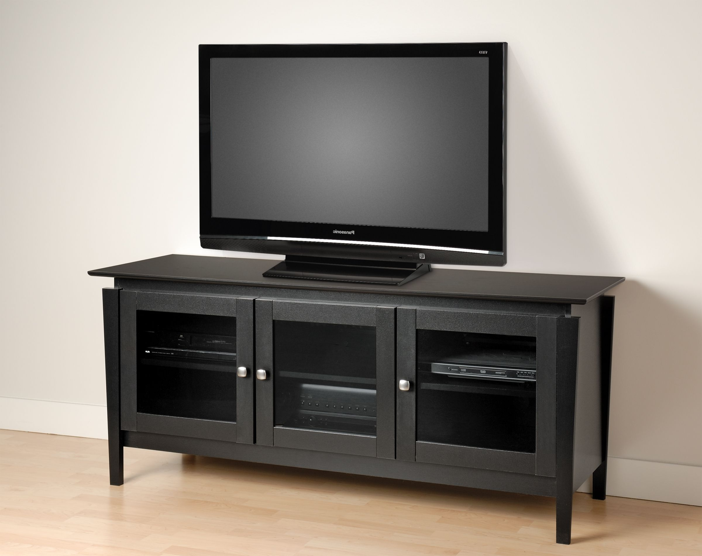 Black Tv Cabinets With Glass Doors (View 2 of 20)
