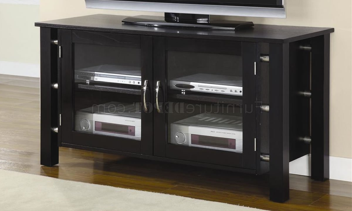 Black Tv Stand With Glass Doors Regarding Latest Black Finish Contemporary Elegant Tv Stand W/clear Glass Doors (View 13 of 20)