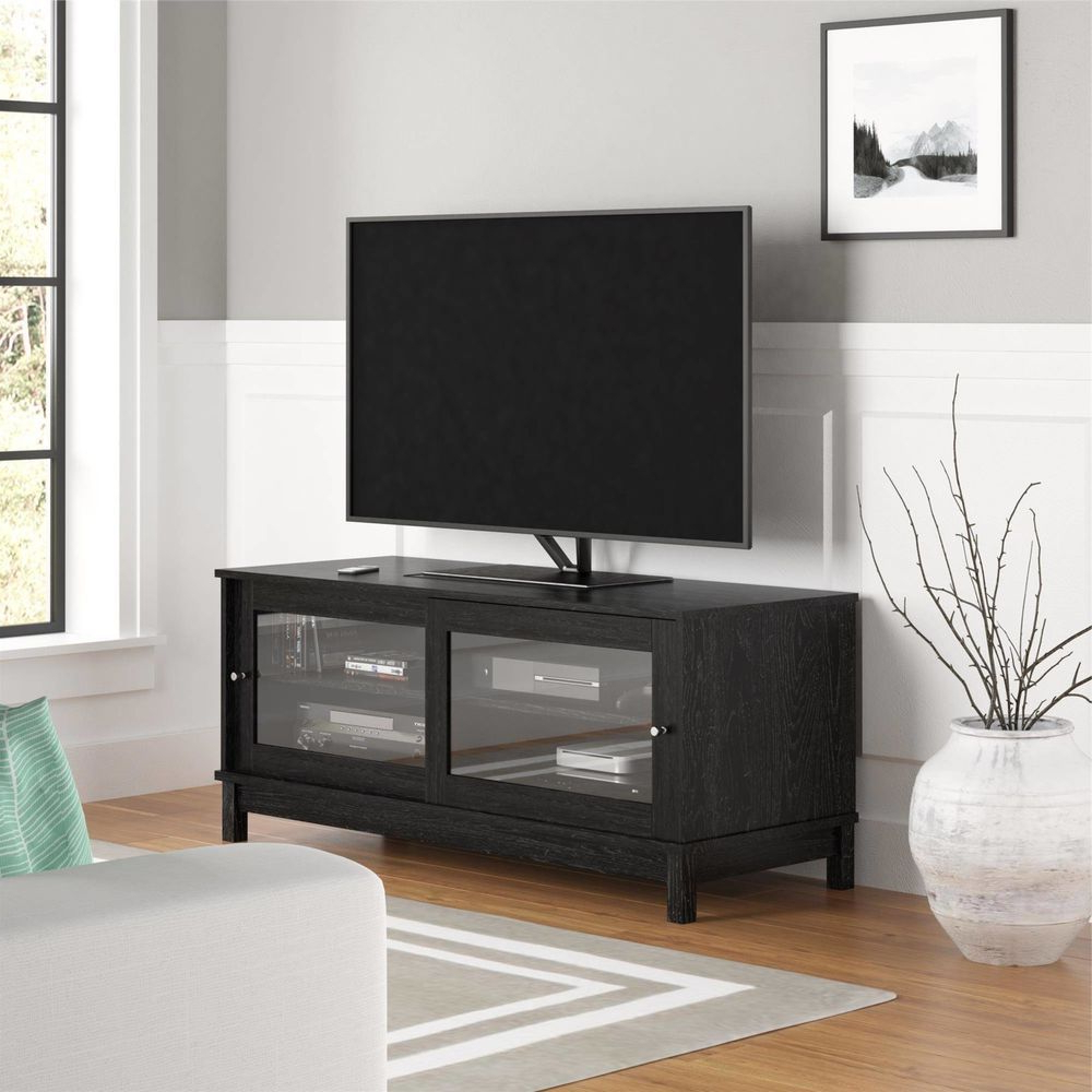 "Black Tv Stand With Glass Doors Regarding Most Up To Date Home Entertainment Center 55"" Tv Stand With Sliding Glass Doors (View 7 of 20)"
