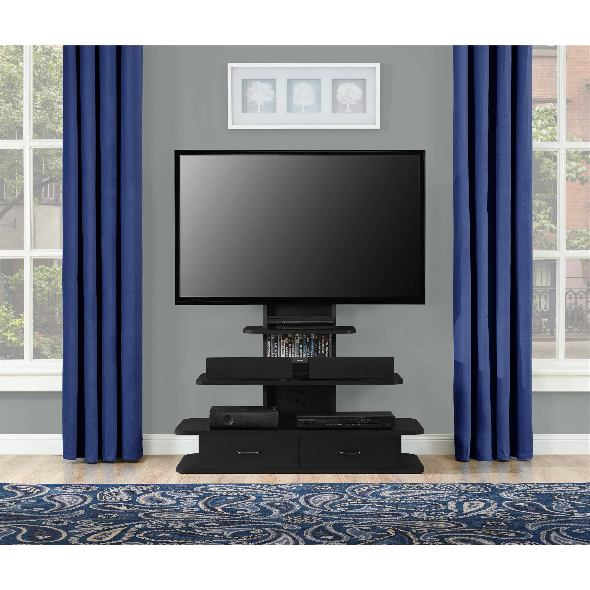 Black Tv Stands With Drawers In Current Ameriwood Home Galaxy Xl Tv Stand With Drawers For Tvs Up To (View 6 of 20)