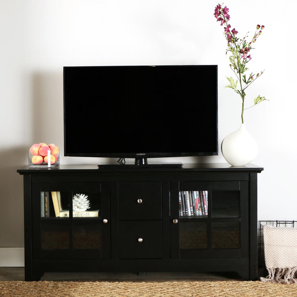 Black Tv Stands With Drawers Pertaining To Well Known Walker Edison Furniture Company Becket Matte Black Entertainment (View 2 of 20)