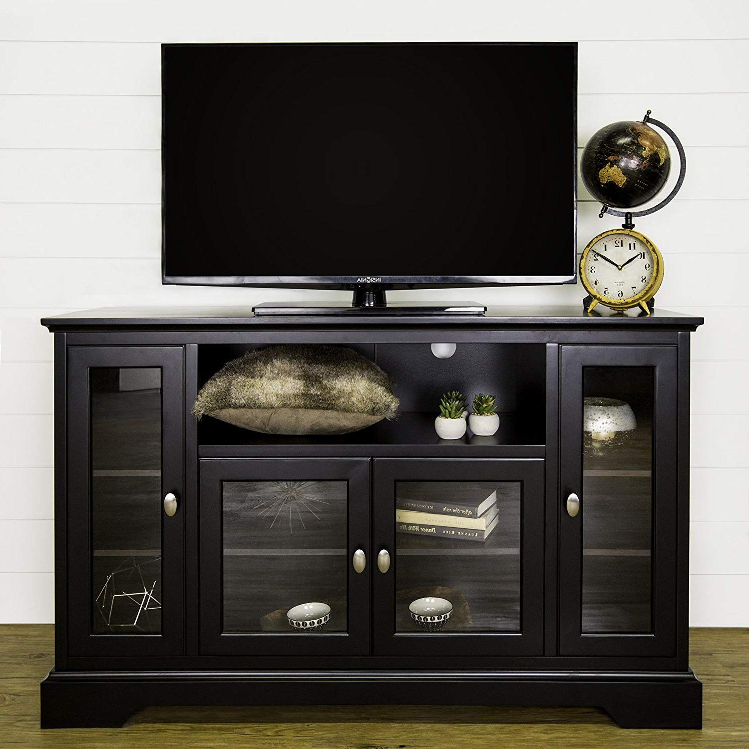 "Black Wood Corner Tv Stands Intended For Well Known Amazon: We Furniture 52"" Wood Highboy Style Tall Tv Stand (View 5 of 20)"