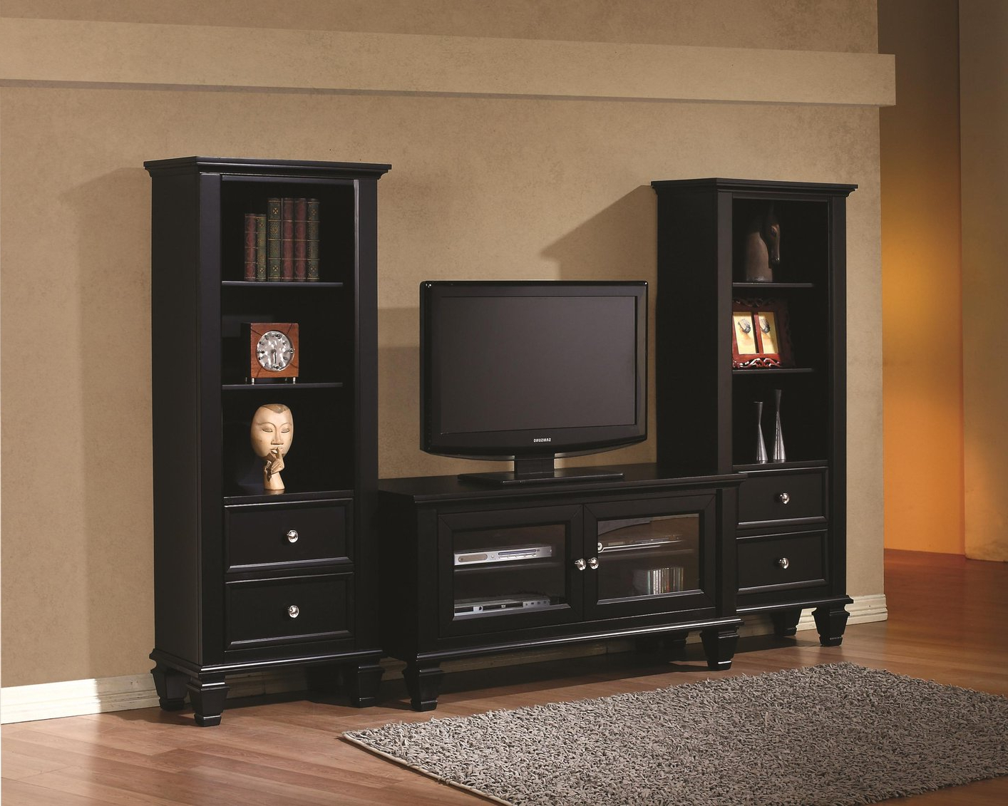 Black Wood Tv Stand – Steal A Sofa Furniture Outlet Los Angeles Ca Within Latest Dark Wood Tv Stands (View 2 of 20)