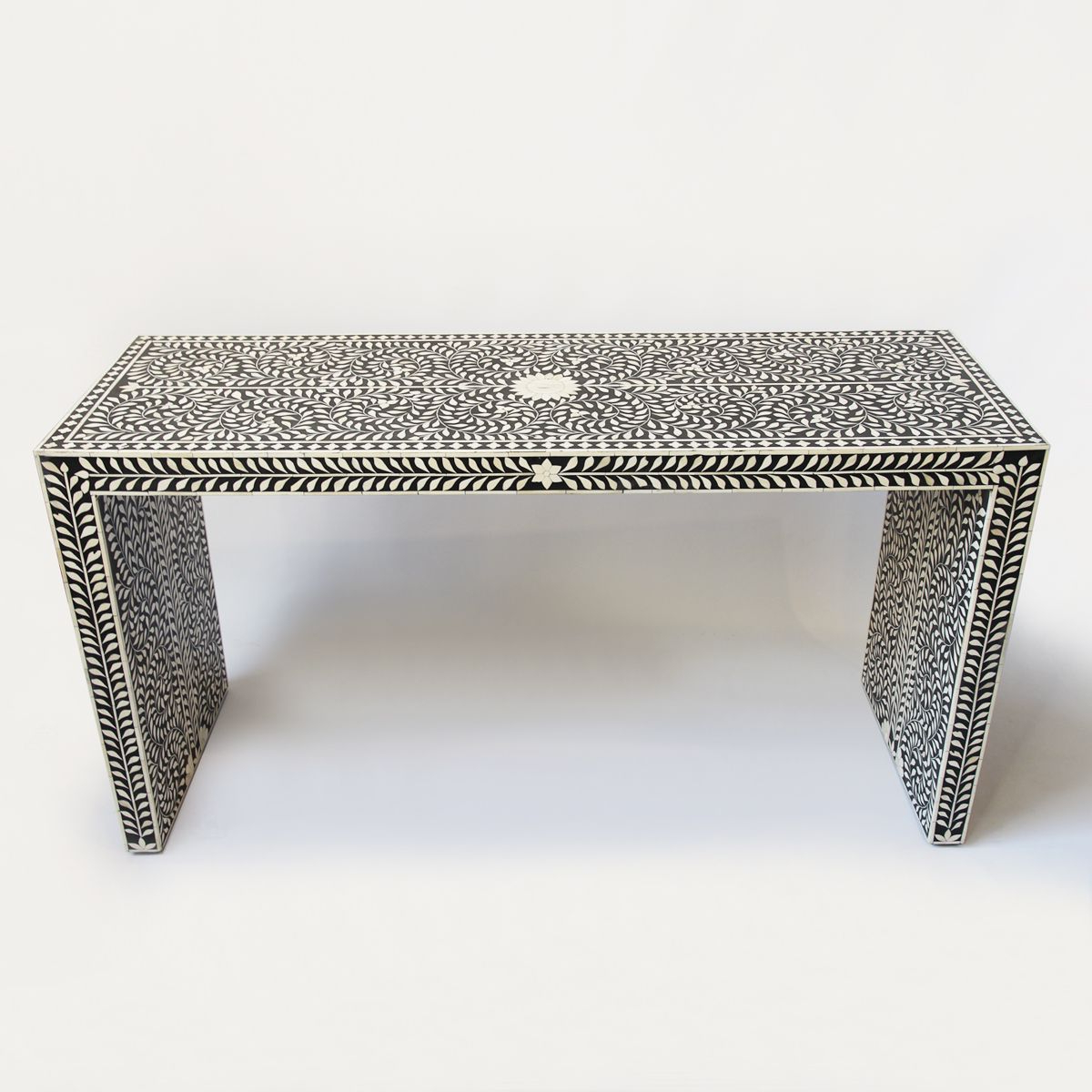 Bone Inlay Black And White Waterfall Console Table (View 5 of 20)