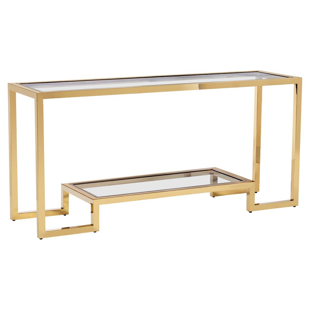 Brass Console Table Pertaining To Fashionable Elke Glass Console Tables With Brass Base (View 12 of 20)