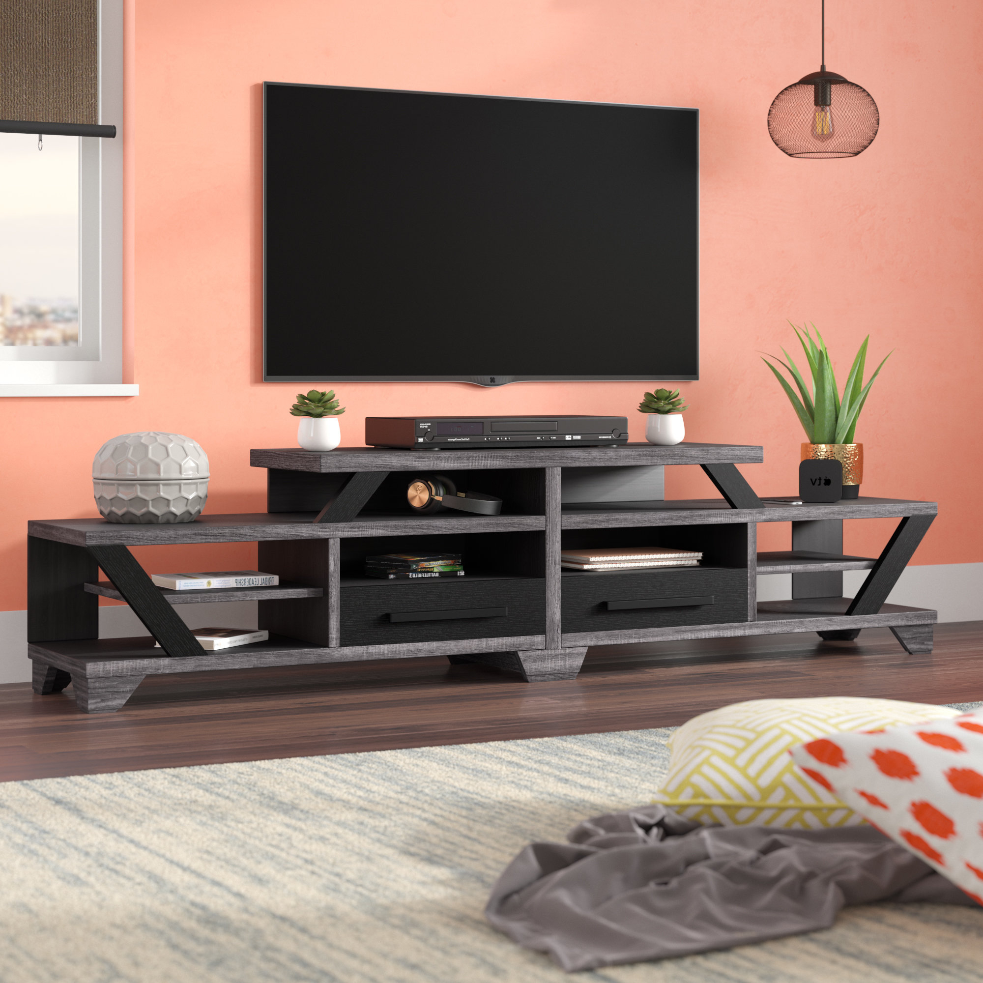 Brayden Studio Brosnan Contemporary Tv Stand For Tvs Up To 80 Throughout 2018 Contemporary Tv Cabinets For Flat Screens (View 4 of 20)