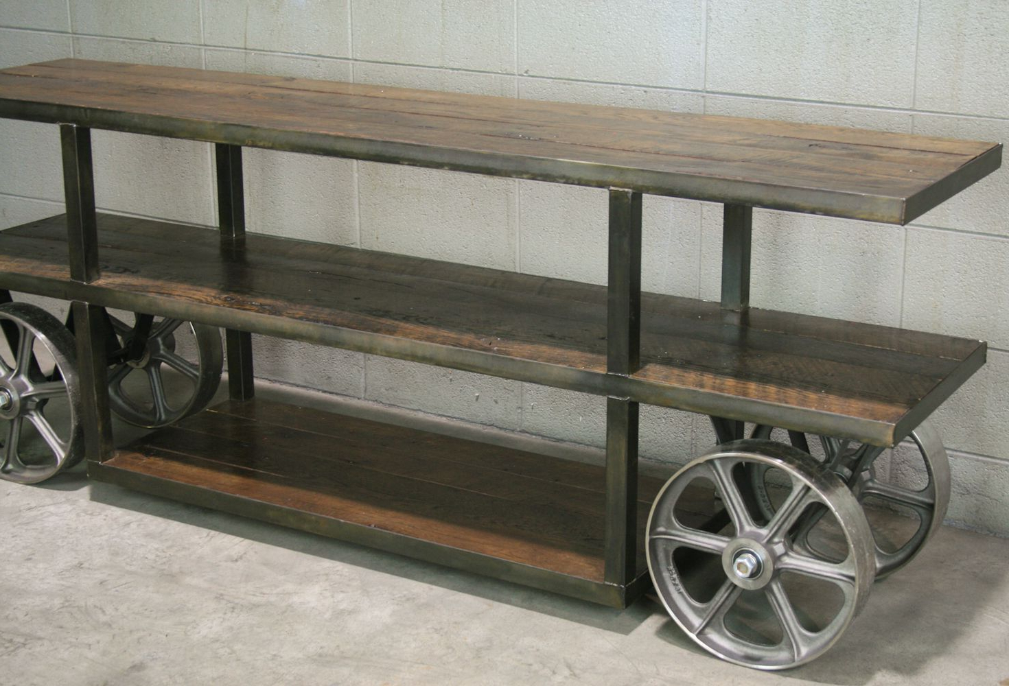 Buy A Custom Made Industrial Trolley Cart/ Media Console, Reclaimed With Regard To Trendy Metal And Wood Tv Stands (Gallery 19 of 20)