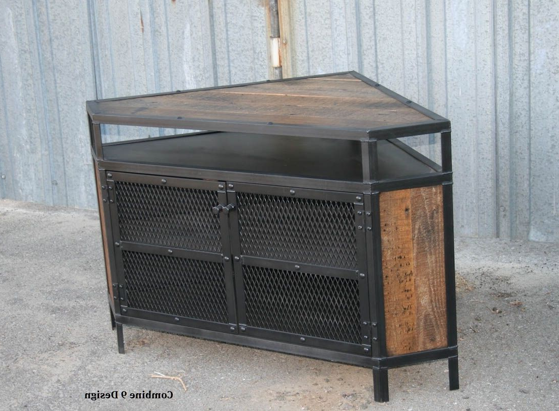 Buy A Custom Vintage Industrial Tv Stand – Corner Unit Media Console In Most Current Vintage Industrial Tv Stands (View 18 of 20)