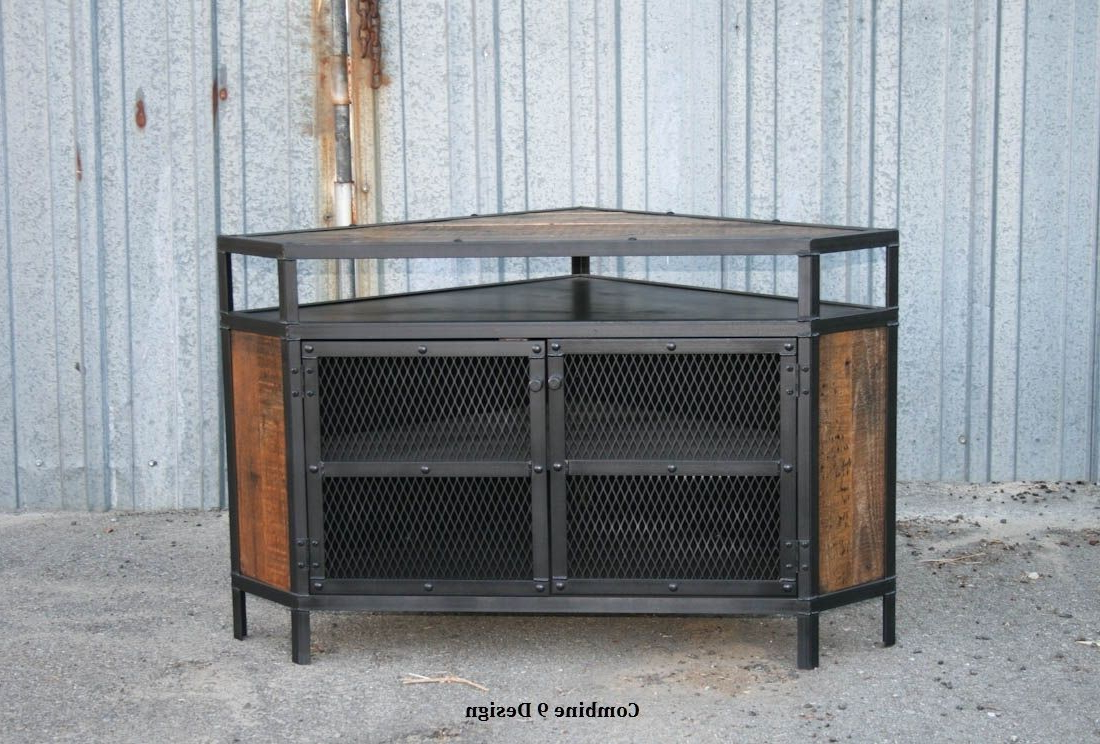 Buy A Custom Vintage Industrial Tv Stand – Corner Unit Media Console Pertaining To Latest Industrial Tv Cabinets (View 9 of 20)