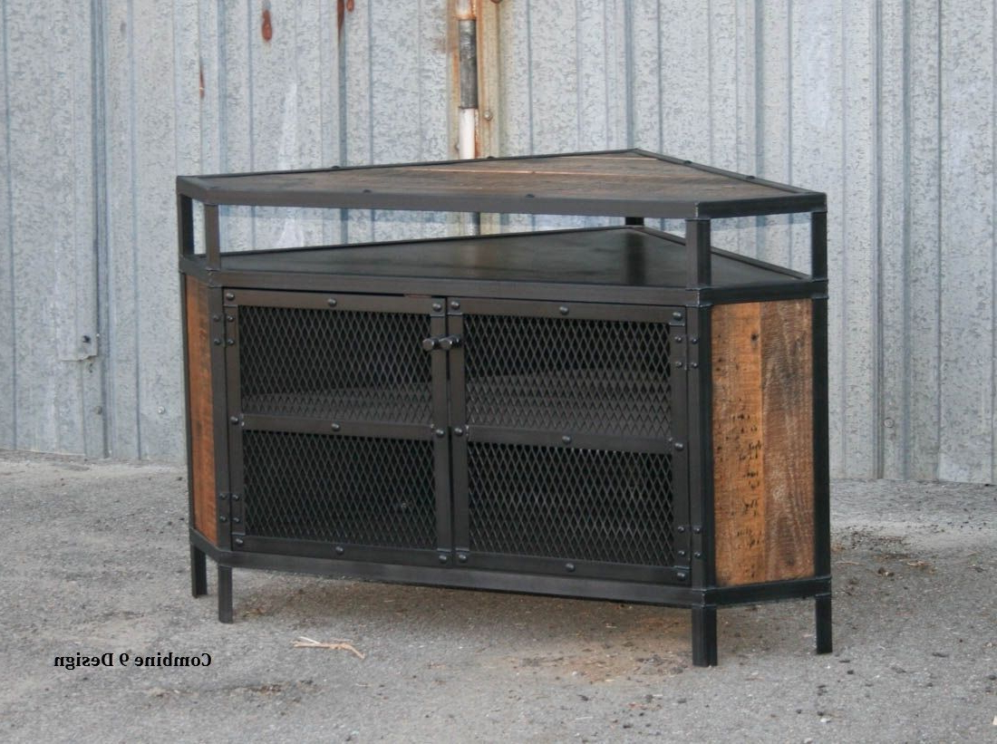 Buy A Custom Vintage Industrial Tv Stand – Corner Unit Media Console Pertaining To Newest Vintage Industrial Tv Stands (View 19 of 20)