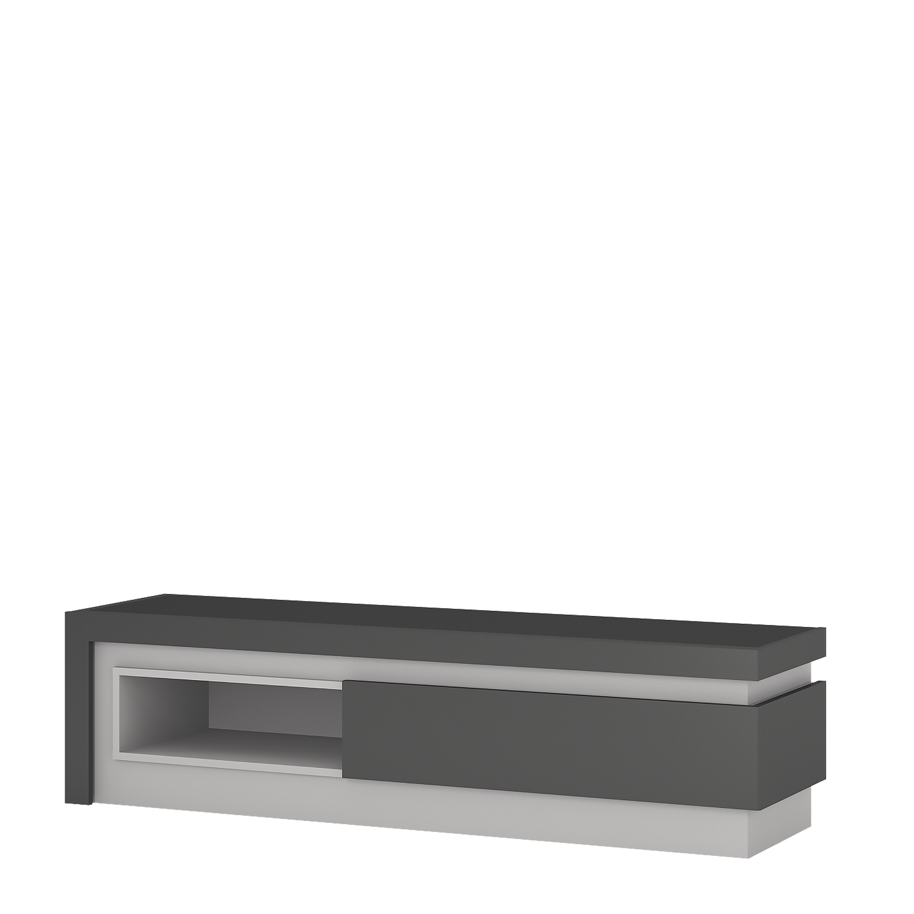 Buy High Gloss Grey Tv Unit With Open Display Pertaining To Most Up To Date High Gloss Tv Benches (View 4 of 20)