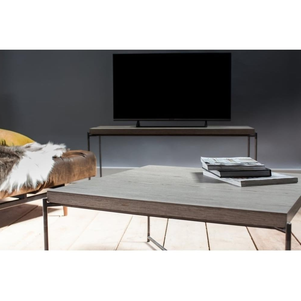 Buy Weathered Oak Console Media Table & Gunmetal Base At Fusion Living With Most Current Gunmetal Media Console Tables (View 7 of 20)