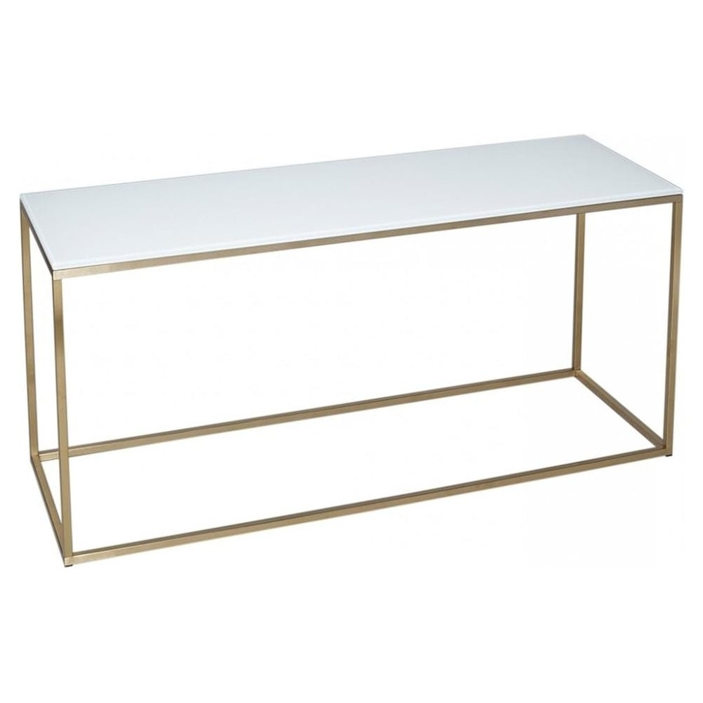 Buy White Glass And Gold Metal Tv Stand From Fusion Living Within Preferred White Glass Tv Stands (View 5 of 20)