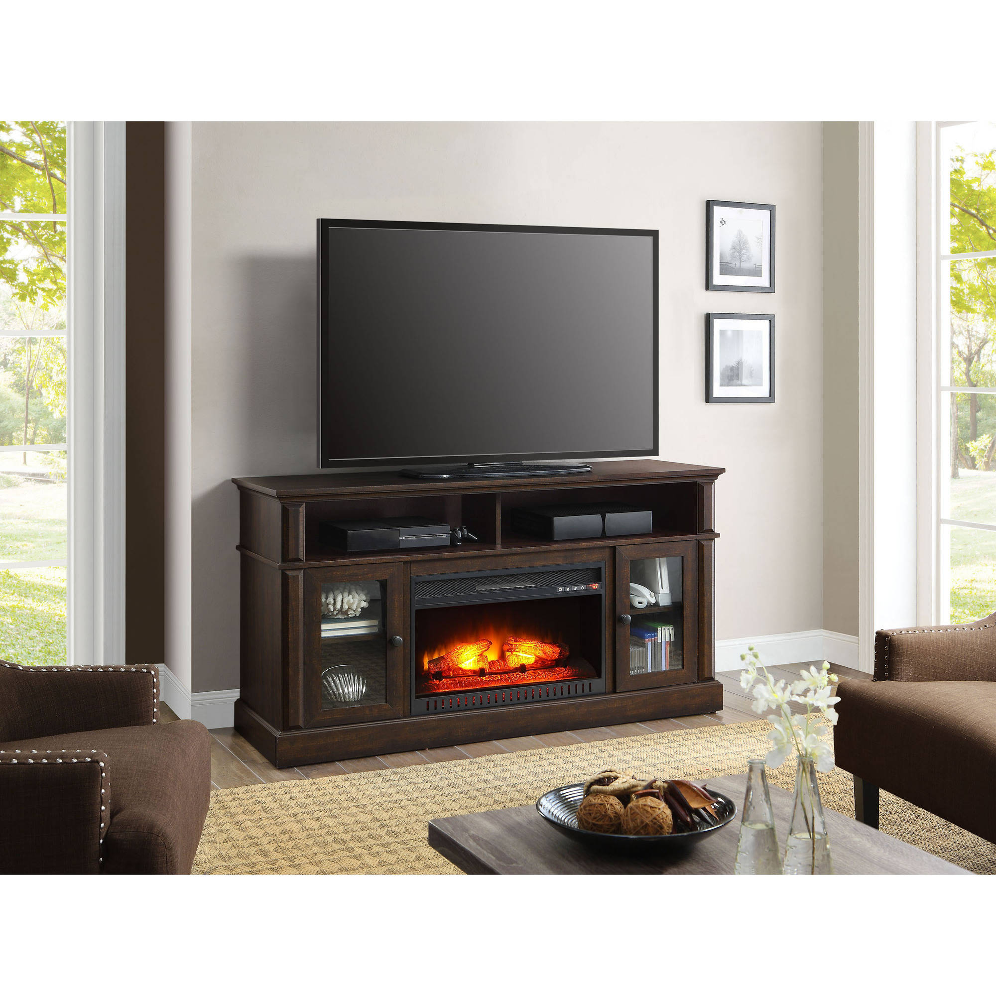 Cabinet Tv Stands Pertaining To Well Liked Details About Fireplace Tv Stand Rustic Media Center Electric Heater Rustic Credenza Cabinet (View 11 of 20)