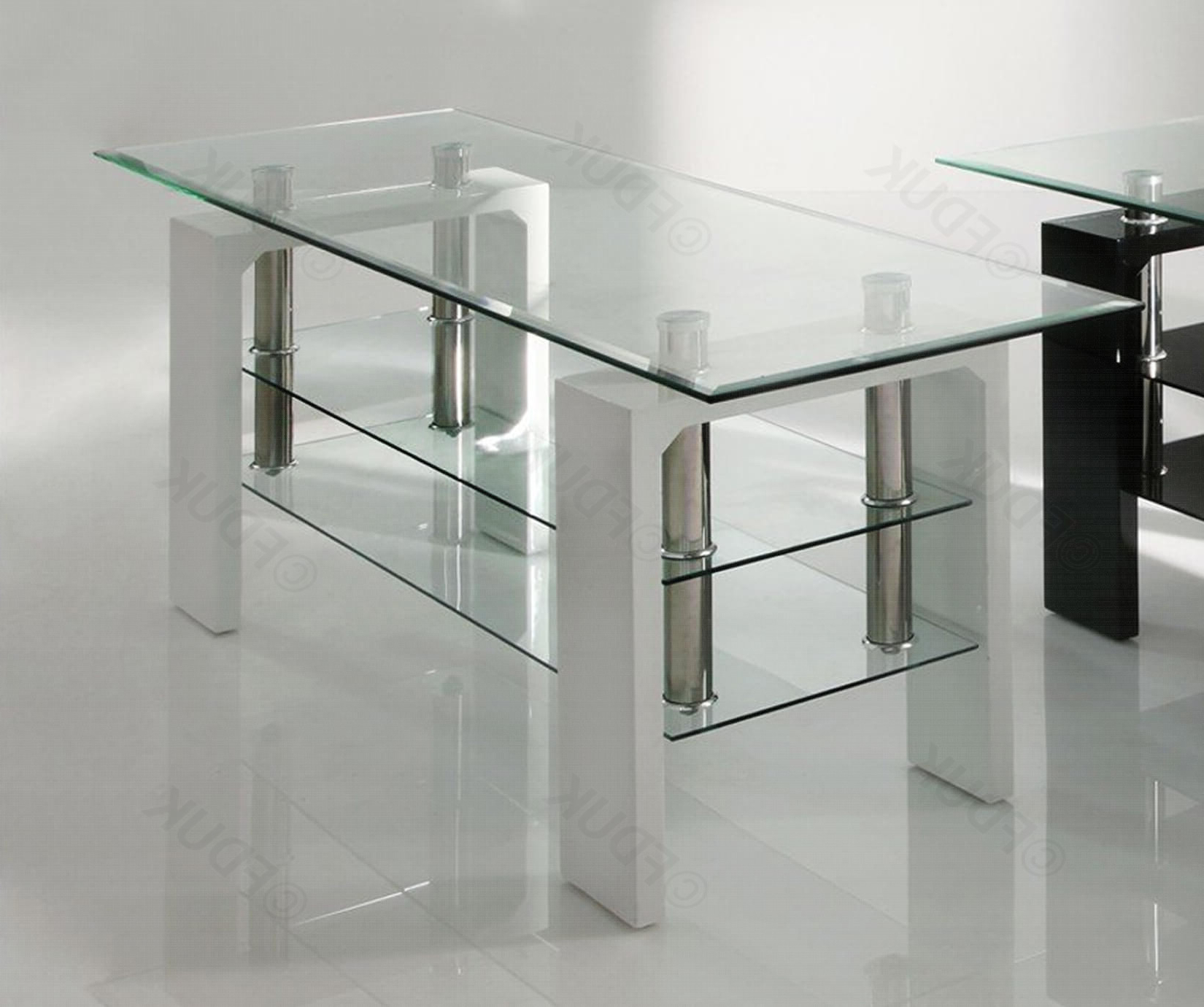 Calico Glass Tv Stand White (View 6 of 20)