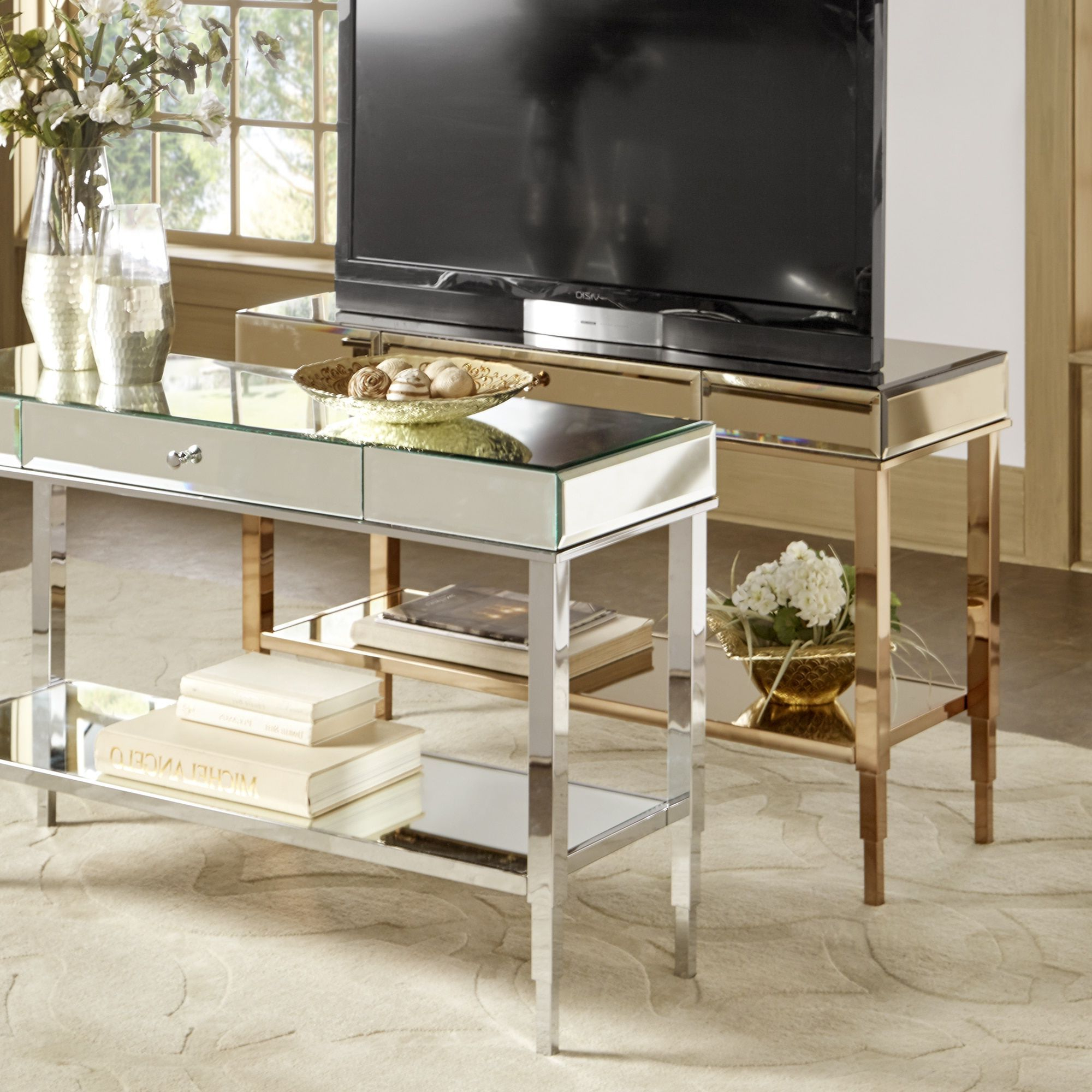 Camille Glam Mirrored Tv Stand Console Table With Drawerinspire Throughout 2017 Abbott Driftwood 60 Inch Tv Stands (View 10 of 20)