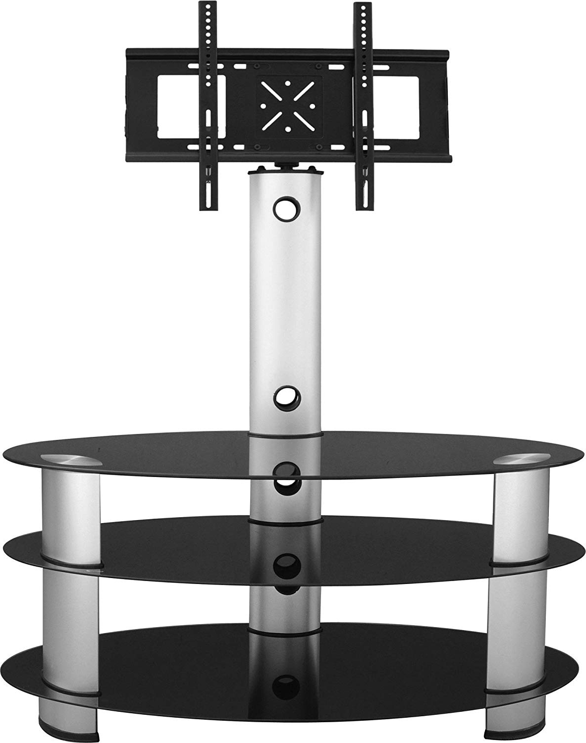 Cantilever Glass Tv Stands For 2018 Furniture Group Bentley Tv Stand In Black Glass/silver: Amazon.co (View 4 of 20)