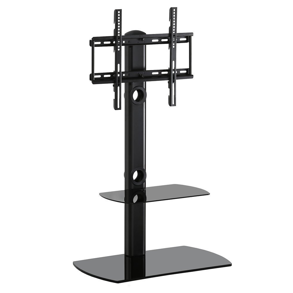 Cantilever Glass Tv Stands Regarding 2017 Fitueyes Universal Floor Cantilever Glass Tv Stand Shelf With Swivel (View 6 of 20)