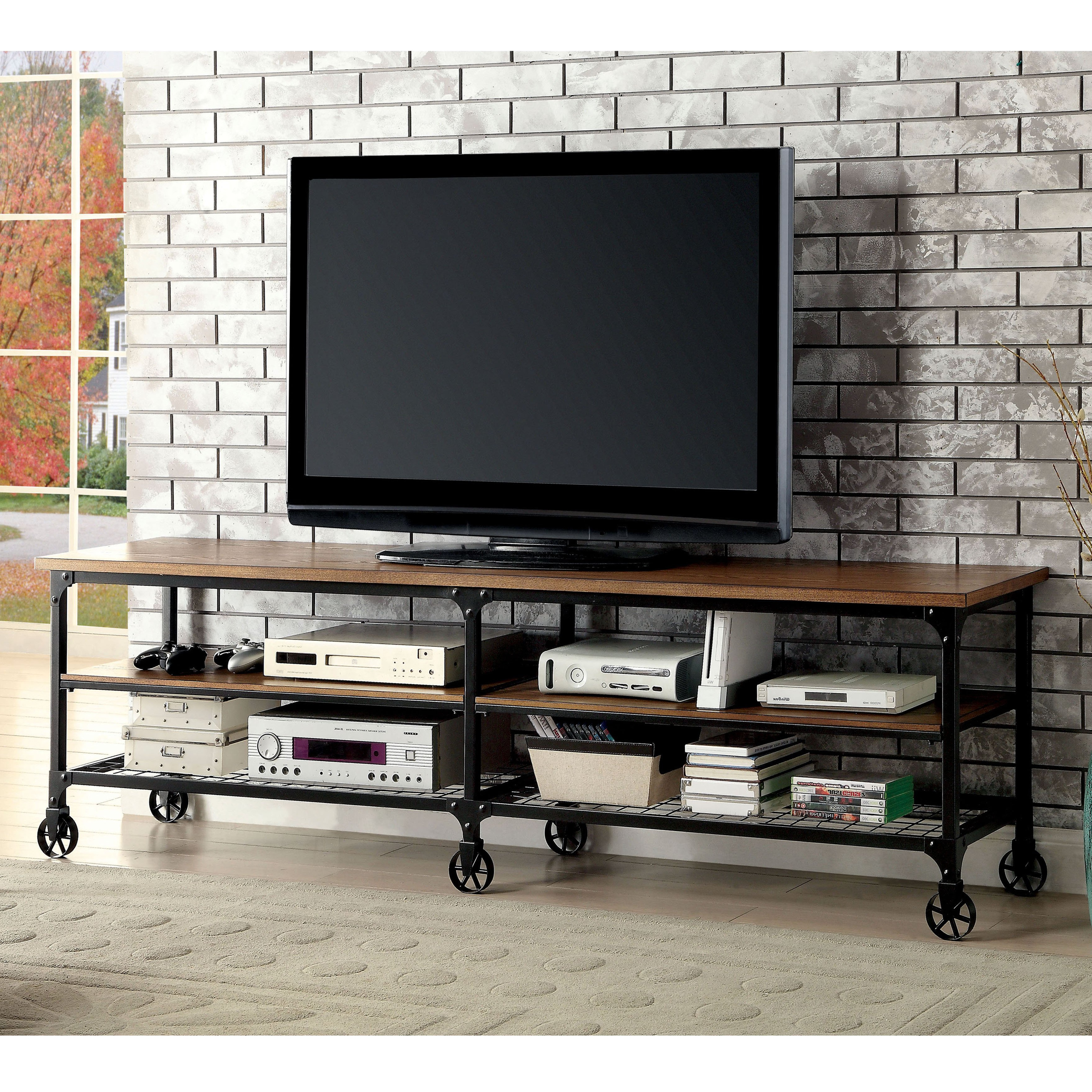 Canyon 74 Inch Tv Stands With Most Popular Shop Carbon Loft Halligan Industrial Medium Oak Tv Stand – On Sale (View 4 of 20)