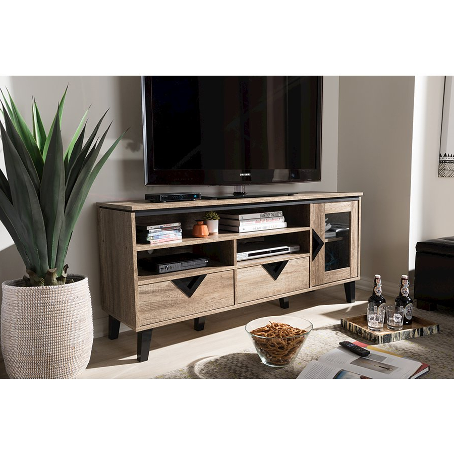 Cardiff Modern And Contemporary Light Brown Wood 55 Inch Tv Stand For Newest Light Colored Tv Stands (View 3 of 20)