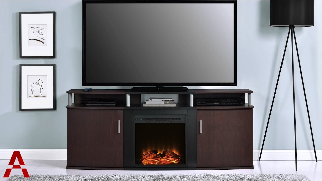 Carson Electric Fireplace Tv Console – Youtube Regarding Fashionable Bale 82 Inch Tv Stands (View 6 of 20)