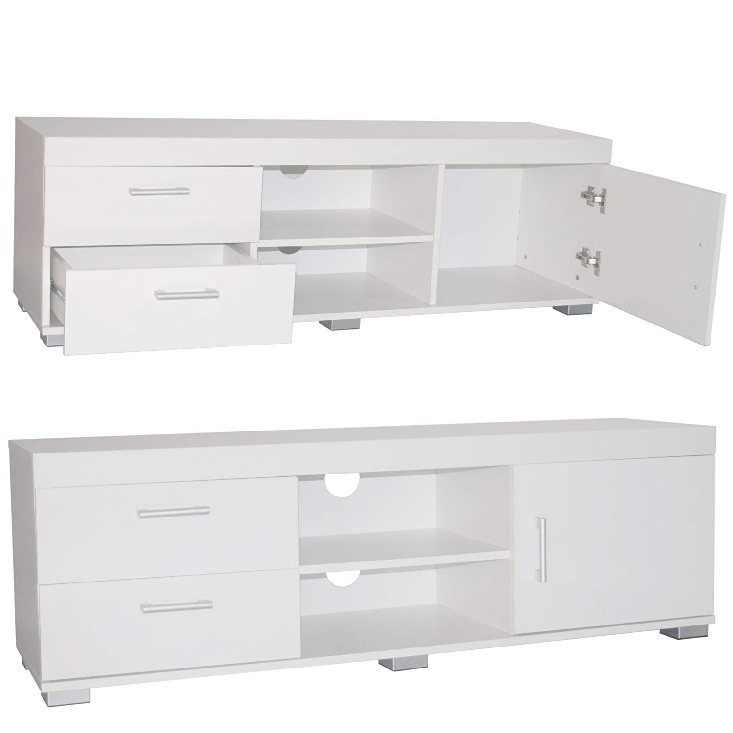 Casey Grey 54 Inch Tv Stands For Most Up To Date Tv Unit White High Gloss Cabinet Wooden Tv Stand: Amazon.co (View 17 of 20)