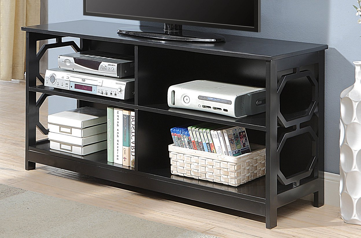 Casey Grey 66 Inch Tv Stands Regarding Most Recent Amazon: Convenience Concepts Omega Tv Stand, Black: Kitchen & Dining (View 12 of 20)
