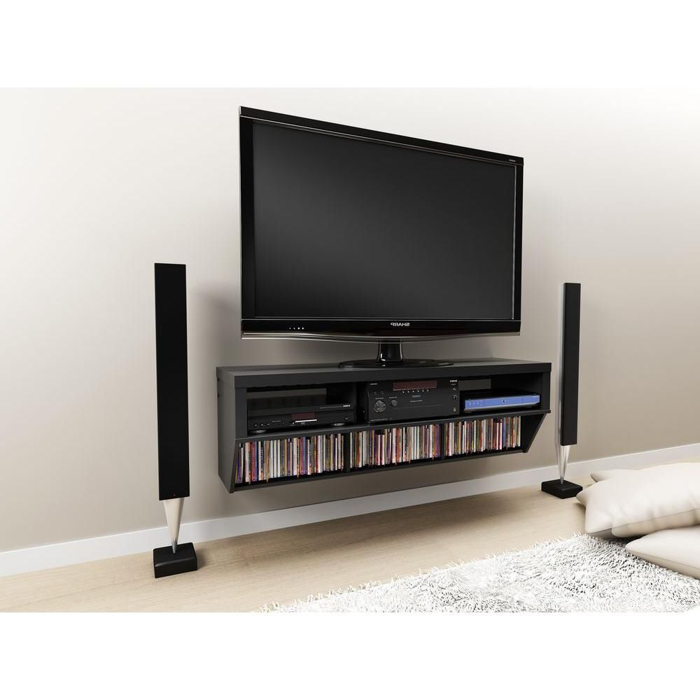 Casey Grey 74 Inch Tv Stands With Regard To Famous Series 9 Wall Mounted Tv Stand In Black (View 8 of 20)