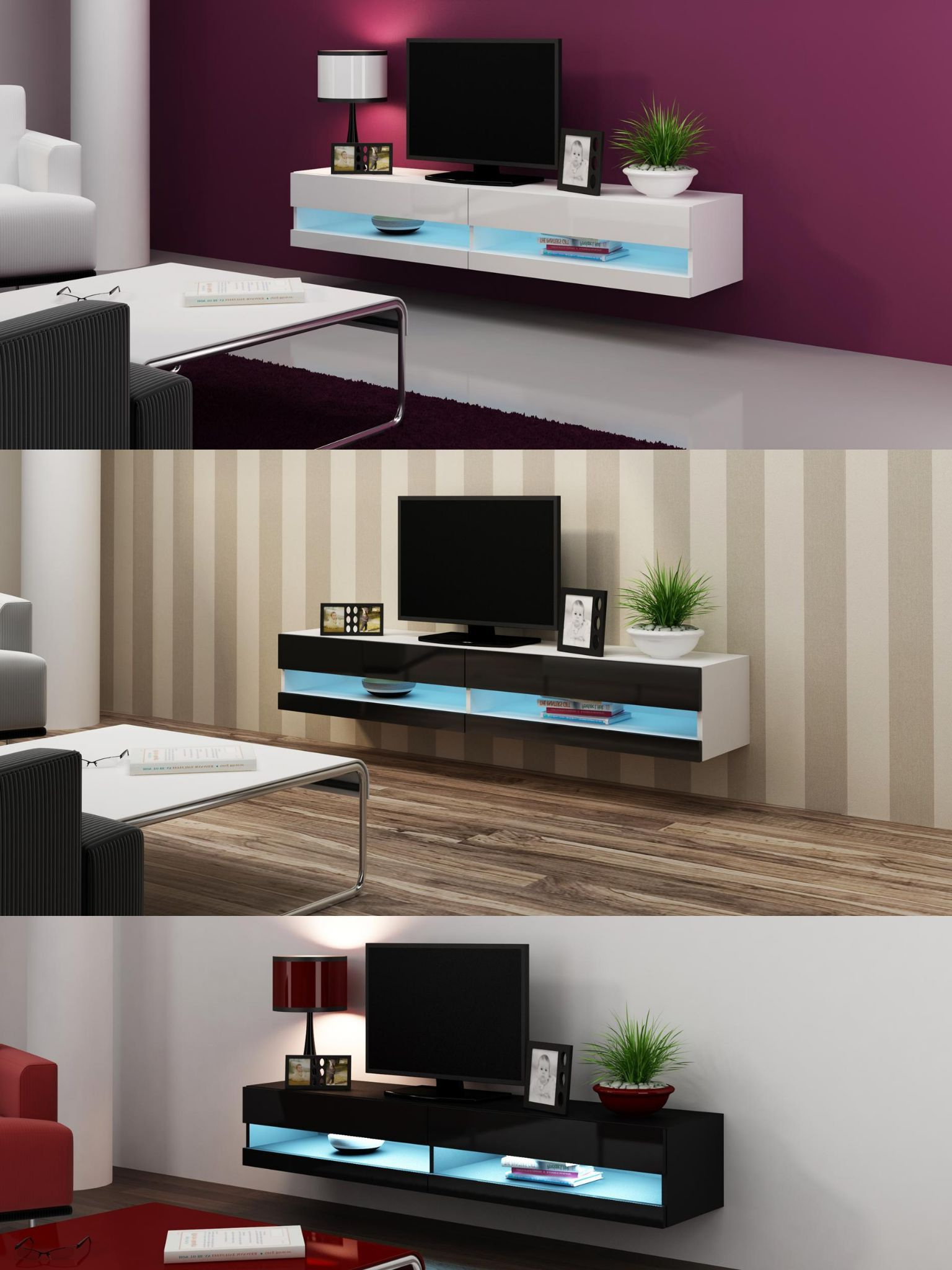 Caspian® Vigo Tv Unit 180 – Oak, Grey, Latte, Black & White Color For Most Recently Released Led Tv Cabinets (View 3 of 20)