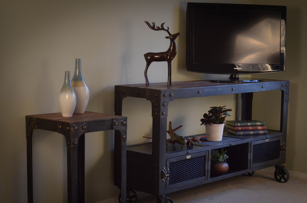 Cast Iron Tv Stands For Best And Newest Darkened Steel Industrial Television Stand, On Top Of Vintage (View 6 of 20)