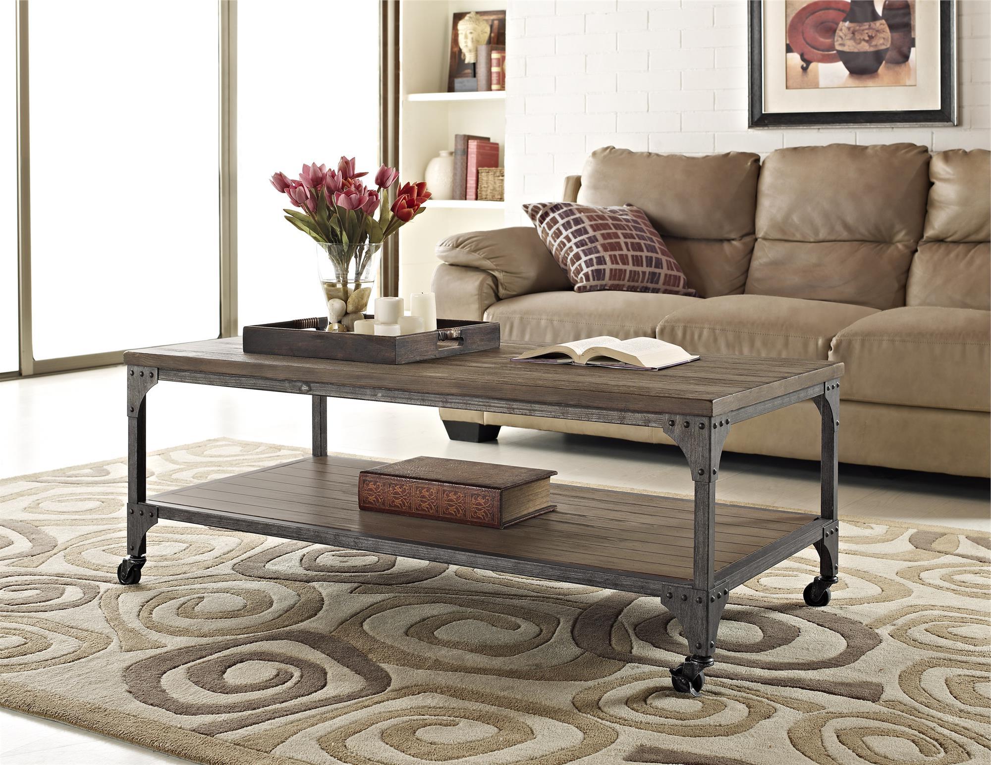Cecil Wood Veneer Coffee Table, Rustic (View 10 of 20)