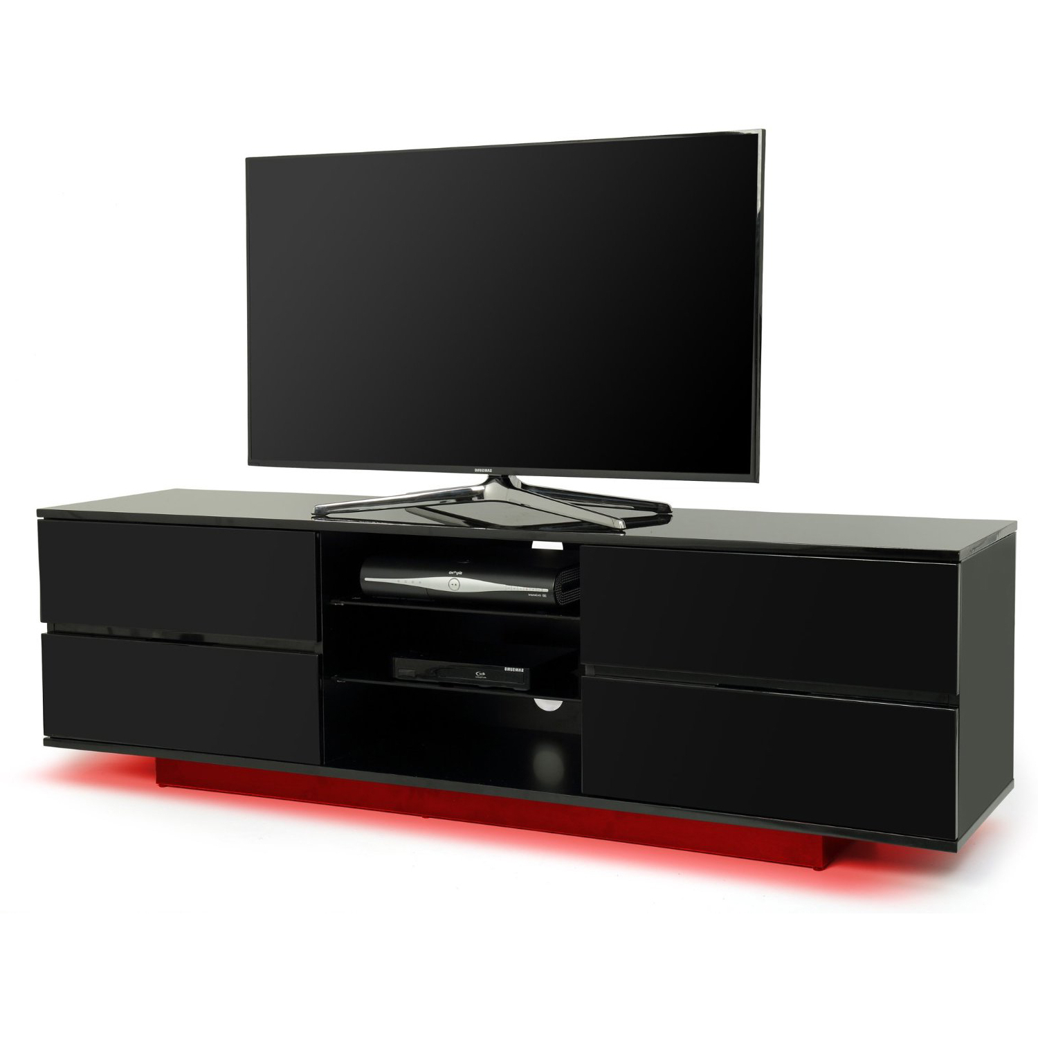 Centurion Supports Avitus Gloss Black 4 Drawer With Red Led Lights Pertaining To Widely Used Black And Red Tv Stands (View 10 of 20)