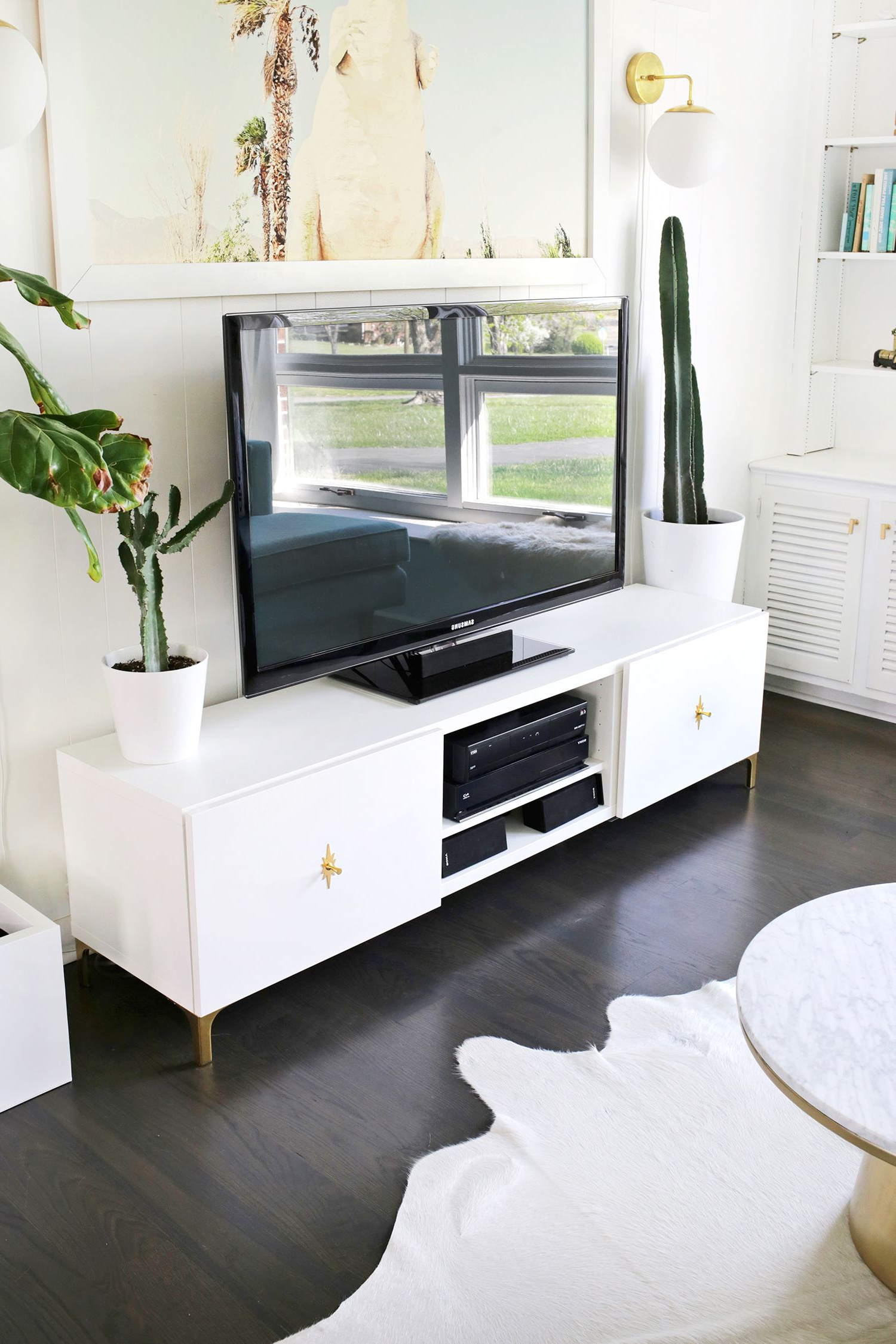 Century White 60 Inch Tv Stands Pertaining To Best And Newest Ikea Restyle: Mid Century Tv Stand (A Beautiful Mess) (View 3 of 20)