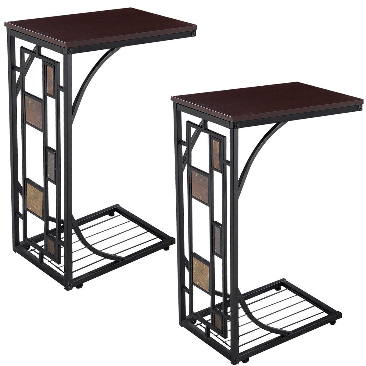 Cheap Tv Tables In Most Popular Costway 2pcs Coffee Tray Side Sofa Table Ottoman Couch Console Stand (View 15 of 20)