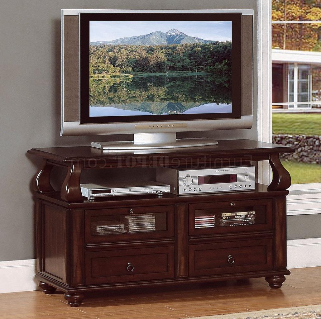 Cherry Tv Stands Inside Most Recently Released Cherry Tv Stand Rich Brown Cherry Finish Traditional – Furnish Ideas (View 5 of 20)