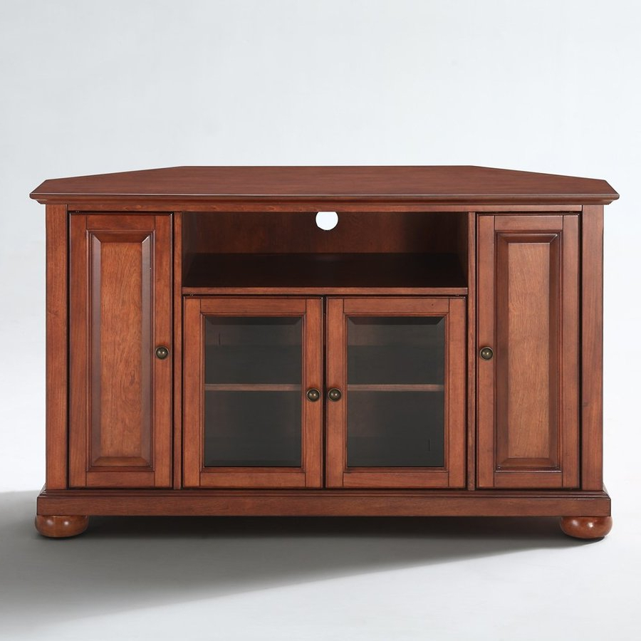 Cherry Tv Stands Regarding Preferred Crosley Furniture Alexandria Classic Cherry Corner Tv Stand At Lowes (View 7 of 20)
