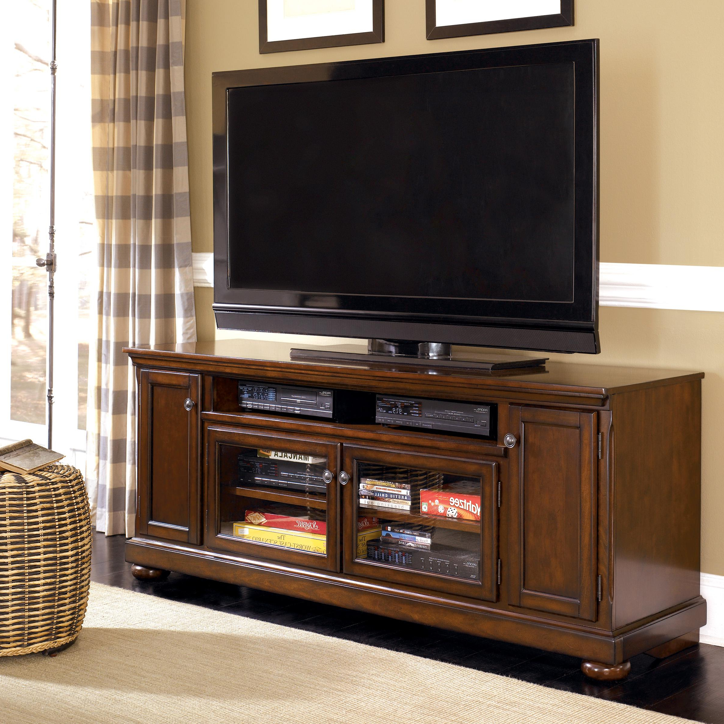 "Cherry Wood Tv Stands In Preferred Millennium Porter W697 58 Transitional Cherry 72"" Extra Large Tv (View 2 of 20)"