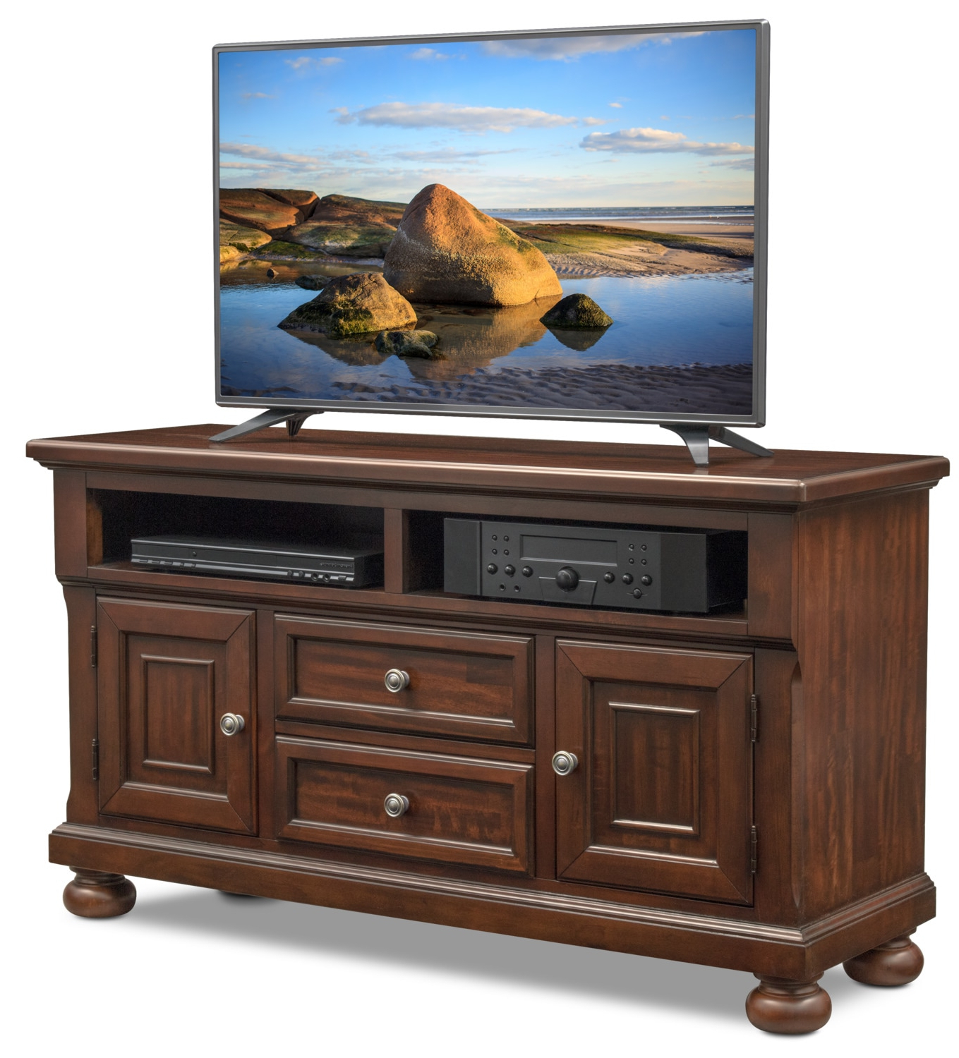 "Cherry Wood Tv Stands Regarding Famous Hanover 52"" Tv Stand – Cherry (View 5 of 20)"