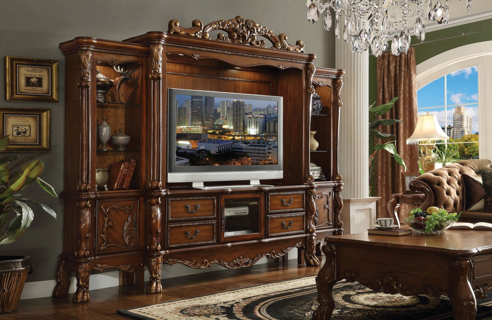 Cherry Wood Tv Stands With Well Liked Dresden Cherry Oak Finish 4pcs Tv Stand Entertainment Centeracme (View 17 of 20)