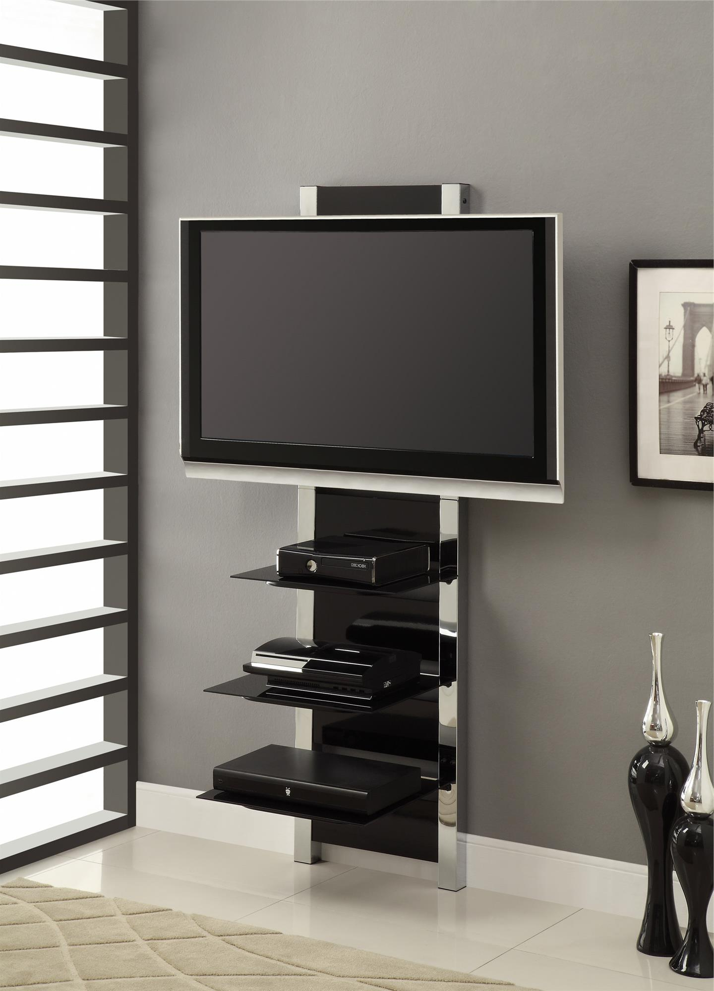 Chrome Tv Floor Stands With Legs Plus Together Black Glass And Stand Regarding Most Recent Tv Stands For 43 Inch Tv (Gallery 18 of 20)