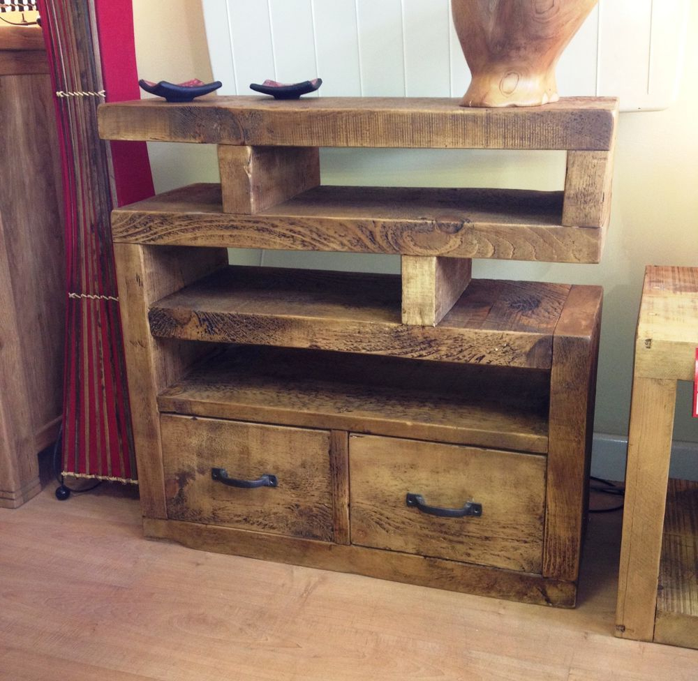Chunky Funky Solid Wood Tv Unit Stand Cabinet Rustic Plank*choose Throughout Widely Used Chunky Wood Tv Units (View 3 of 20)