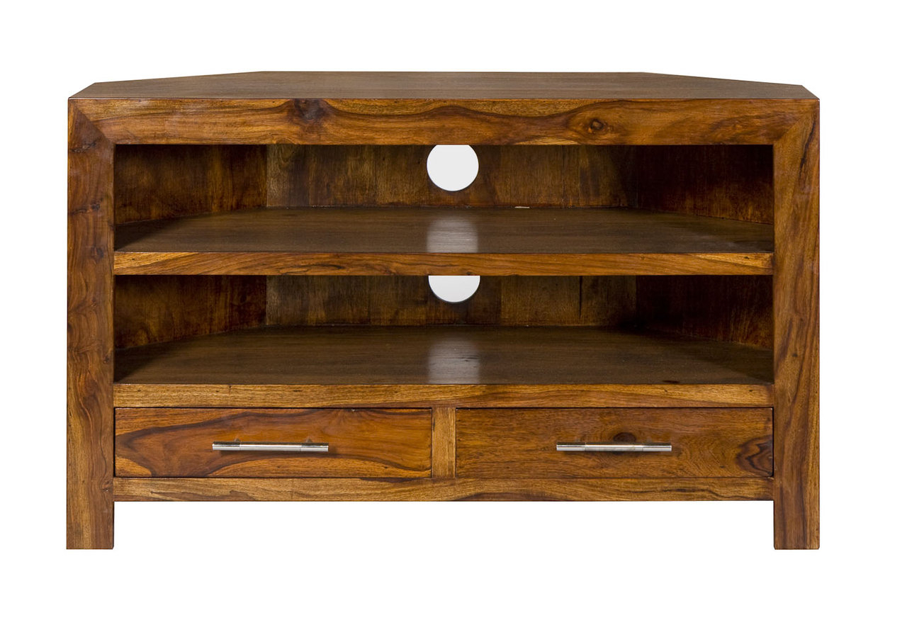 Chunky Oak Tv Units Inside Current Cube Petite Chunky Corner Tv Cabinet Tv Stand (View 4 of 20)