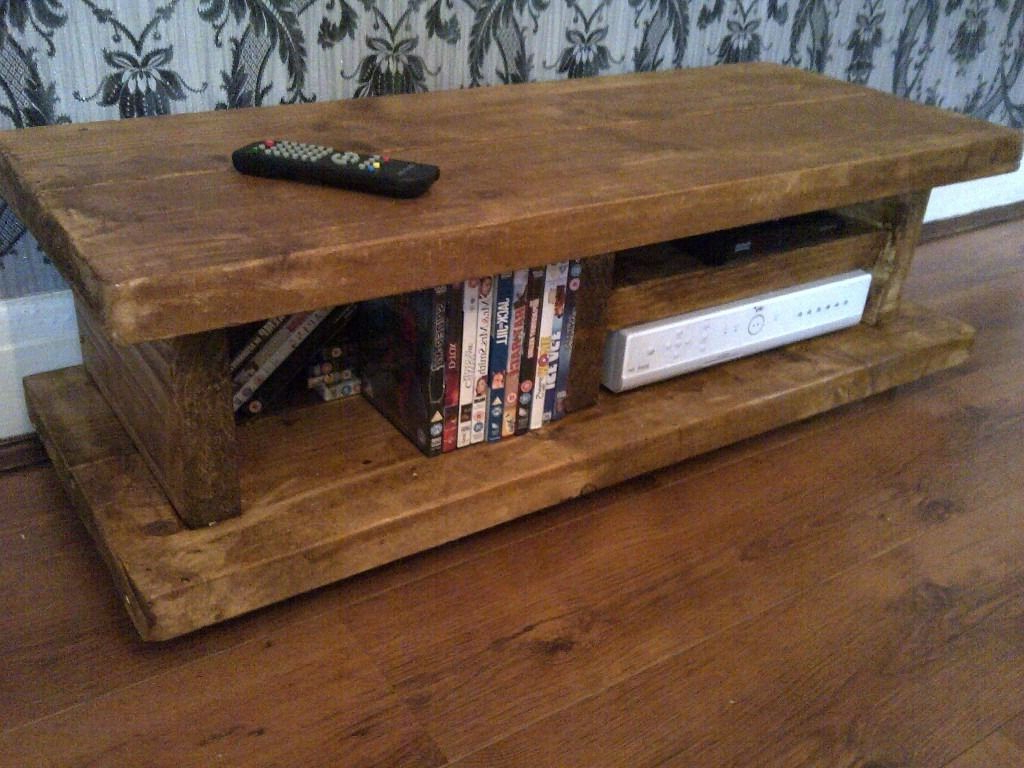 Chunky Rustic Tv Stand Audio Unit/cabinet Solid Wood ~Handmade In With Most Popular Rustic Tv Stands For Sale (View 4 of 20)